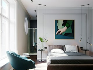 Apartment in Central Paris (Part II) VisEngine Digital Solutions Modern style bedroom Turquoise