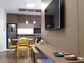 Apartamento na praia Salas de estar minimalistas por Larissa Minatti Interiores Minimalista
