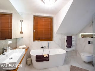Skandynawska elegancja w Rzeszowie Nowoczesna łazienka od Viva Design - projektowanie wnętrz Nowoczesny