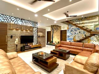 Bungalow for Dr. Shashidhar Kattimani at Ghatprabha, Karnataka Eclectic style living room by A B Design Studio Eclectic