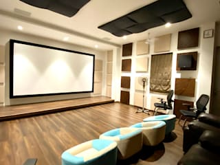 Bungalow for Dr. Shashidhar Kattimani at Ghatprabha, Karnataka Eclectic style media room by A B Design Studio Eclectic