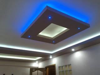 Asma tavan modelleri Mavi ve beyaz spot uygulama Modern Duvar & Zemin Gökçe Yapı Modern Kireçtaşı