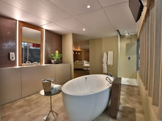 Suite Conceito Luxo e Tecnologia Equipotel 2019 Banheiros modernos por Bibiana Menegaz - Arquitetura de Atmosfera Moderno