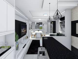 LK Engenharia e Arquitetura ห้องนั่งเล่นชั้นวางทีวีและตู้วางทีวี