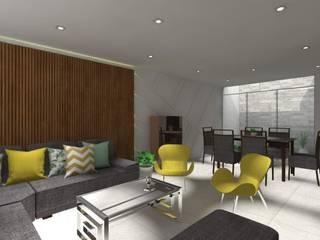 Proyecto de Diseño de Sala Comedor de Pamela Cerna Interiores Escandinavo