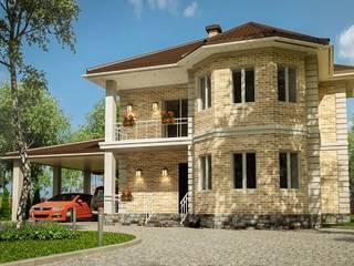 Проект «Арнеис» двухэтажный дом с балконом и навесом для автомобиля облицованный кирпичом от 'Стоун Вуд Хаус' Классический
