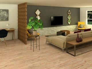 Espacio integrado multifuncional Salas modernas de Milaro Interiorismo Moderno