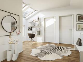BALANCE Einfamilienhäuser – Moderne Traumhäuser für die optimale Ausnutzung kompakter Grundstücke Bien-Zenker Moderner Flur, Diele & Treppenhaus