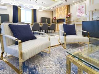 Латунный дизайн интерьера — новый фаворит Гостиная в стиле модерн от Студия Luxury Antonovich Design Модерн