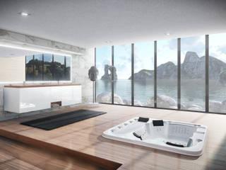 Infografía baño Baños de estilo moderno de NP-sys S.L. Moderno