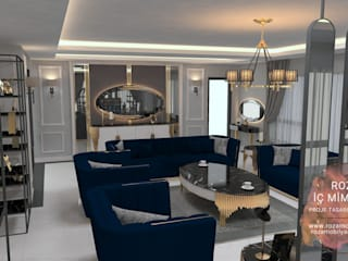 LUXURY FURNİTURE  SALON PROJESİ Roza Mobilya mimari dekorasyon Modern Oturma Odası