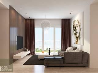 SUNRISE CITY – MR. TU Phòng khách phong cách châu Á bởi CÔNG TY CP THIẾT KẾ NỘI THẤT ICONINTERIOR Châu Á