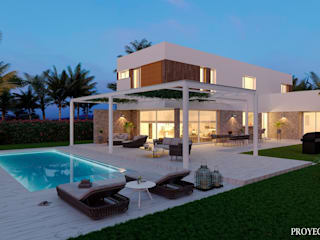 Diseño 3D de renders diurnos y nocturnos para viviendas unifamiliares de Proyecto 3D Valencia Renders Animaciones 3D Infografias Online