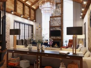 Просторный дом для молодой семьи Гостиные в эклектичном стиле от Диана Забродина студия 'Dia-project' Эклектичный