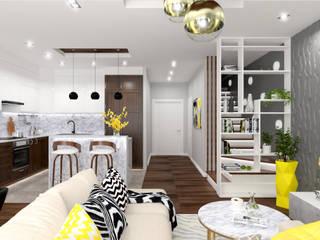 Projekt Salonu w Stylu Nowoczesnym Nowoczesny salon od Senkoart Design Nowoczesny