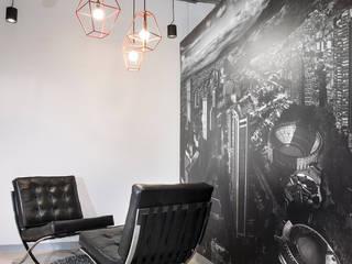 Oficinas Advantis/Aluzian Pasillos, vestíbulos y escaleras de estilo industrial de entrearquitectosestudio Industrial