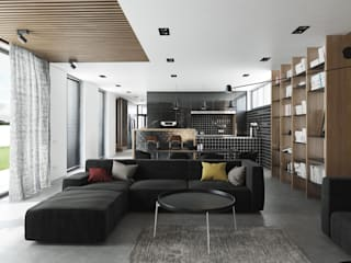 Интерьер частного жилого дома в коттеджном поселке «Мельница» Гостиная в стиле лофт от CNTR Architects Лофт
