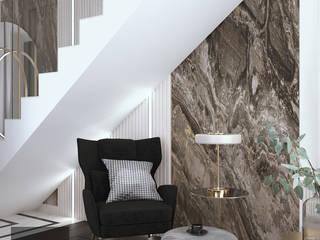 Wawer House parter Hedo Architects Nowoczesny korytarz, przedpokój i schody Kwarc