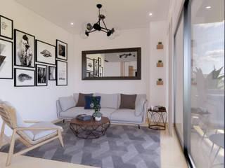 DIKTURE Arquitectura + Diseño Interior Moderne Wohnzimmer Holz Grau