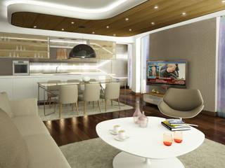 SD EVİ ARTE İç Mimarlık Modern Oturma Odası Ahşap Bej