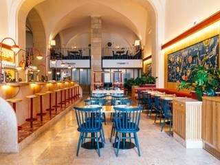 Marisqueira Azul - Praça do Comércio - Lioz Salas de jantar clássicas por Manuel & Cardoso-Pedras Naturais e Compostos Clássico