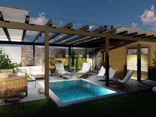 Projekt und Visualisierung von Wellnessbereich im Garten Moderner Garten von MITKO DESIGN Modern