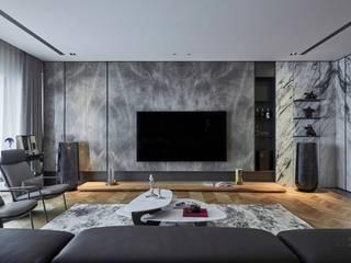 新莊九五大樓 现代客厅設計點子、靈感 & 圖片 根據 大器聯合室內設計有限公司 現代風