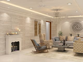 A Natural treatment Biophilic design for 4-BHK Mumbai home Modern living room by Space Design Group - Mulund W Modern