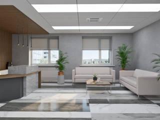Дизайн офисных помещений общей площадью 1350м2 Рабочий кабинет в стиле минимализм от Студия дизайна интерьеров Decodiz Минимализм