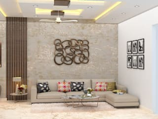 Space Planning, 3D Design, Concept, Theme Building, Builder Floor, Green Field Colony, Faridabad, Asri interiors, Renovation, home Improvement, Wallpaper Supplier Modern dining room by Asri Interiors Modern