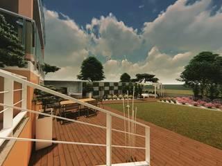 Arranjo dos espaços exteriores de Habitação Unifamiliar Varandas, marquises e terraços minimalistas por 88 Design & Paisagismo Minimalista