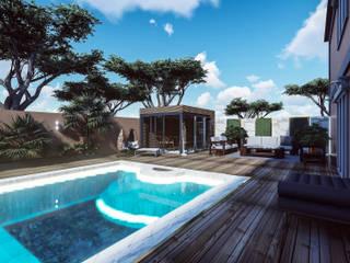 Projeto de Requalificação dos espaços exteriores de Moradia Unifamiliar Jardins modernos por 88 Design & Paisagismo Moderno