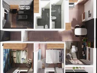 Thiết kế thi công nội thất căn hộ Vinhomes Grand Park Quận 9: tối giản  by Công ty TNHH QPDesign, Tối giản