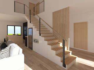 Rénovation d'une grange en maison individuelle Limage3D Couloir, entrée, escaliers scandinaves Bois Beige