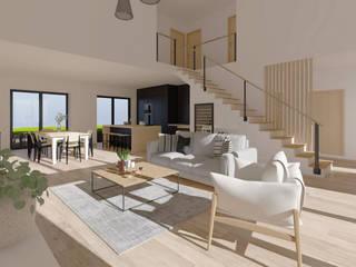 Rénovation d'une grange en maison individuelle Limage3D Salon scandinave Bois Beige