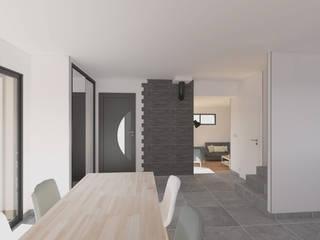 Rénovation d'un salon de maison individuelle Limage3D Salon moderne Bois Gris