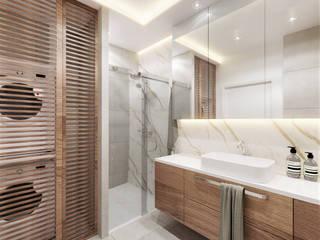 Łazienka w apartamencie Wkwadrat Architekt Wnętrz Toruń Nowoczesna łazienka Kamień Beżowy