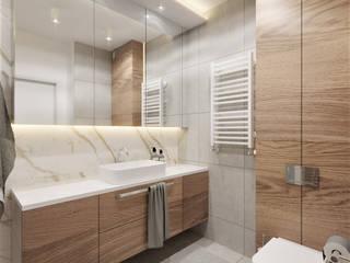 Łazienka w apartamencie Wkwadrat Architekt Wnętrz Toruń Nowoczesna łazienka Beton O efekcie drewna