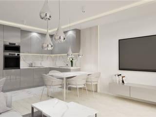 Salon z aneksem kuchennym Wkwadrat Architekt Wnętrz Toruń Minimalistyczna jadalnia Płyta MDF Biały