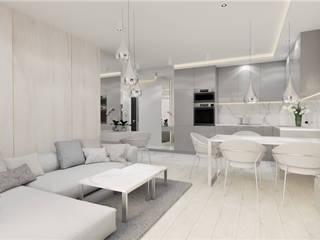 Salon z aneksem kuchennym Wkwadrat Architekt Wnętrz Toruń Małe kuchnie Drewno Szary