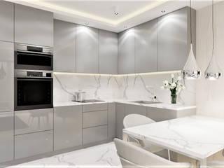 Salon z aneksem kuchennym Wkwadrat Architekt Wnętrz Toruń Aneks kuchenny Marmur Szary