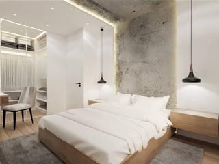 Sypialnia z garderobą Wkwadrat Architekt Wnętrz Toruń Małe sypialnie Beton Biały