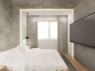 Sypialnia z garderobą Wkwadrat Architekt Wnętrz Toruń Małe sypialnie Beton Szary