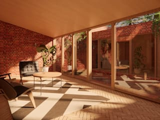 Solar Courtyard House - Beverley, East Yorkshire 인더스트리얼 거실 by Samuel Kendall Associates Limited 인더스트리얼