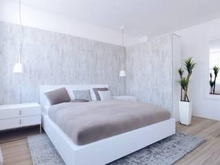 Open Plan Design Flat in North London Scandinavian style bedroom by The White Interior Design Studio Scandinavian