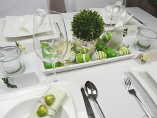 Frühlingsdeko und Tischdeko zu Ostern. Tischdekoration für den Frühling Tischdeko-online Steingarten Beige