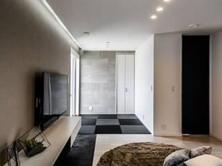 災害時に電気が使える LCCM認定のエコ住宅 モダンデザインの リビング の プロジェクトホーム モダン