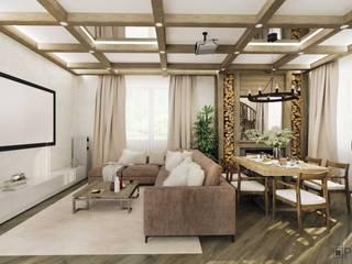 Загородный дом Гостиная в скандинавском стиле от ArhPredmet Скандинавский
