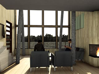 CABAÑA CURACAUTIN Livings de estilo rústico de Olguin Arquitectos Rústico