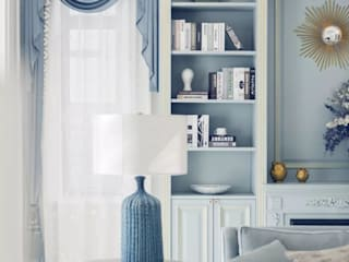 C&M Media Living room Solid Wood Blue